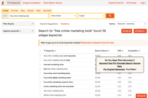 Keyword Tool is a free online marketing web app