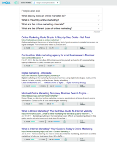 Google's results page with MozBar