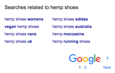 google related searches for a hemp keyword