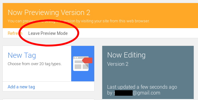 how to Leave Preview Mode in google tag manager